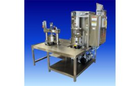 Ross triple mixer with discharge