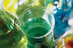 beaker with green liquid