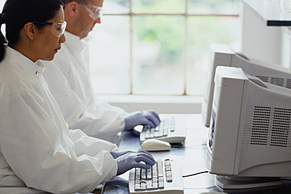 computing in the lab gloves white coat