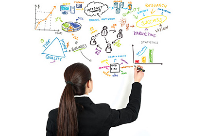 white board drawing business woman